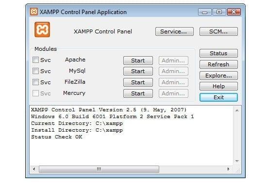 Panneau de configuration XAMPP