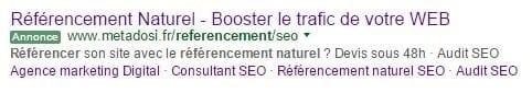 Publicité Adwords Metadosi référencement naturel