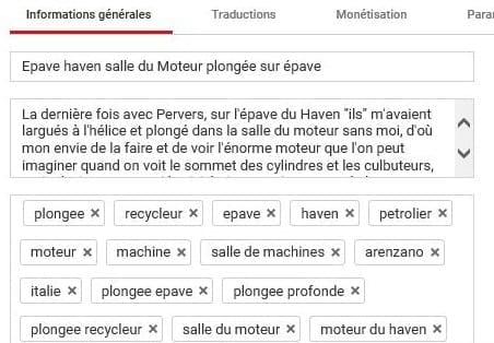 Métadonnées de Youtube pris en compte par l'algorithme Youtube