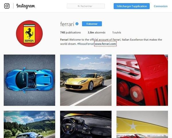Marque automobile de luxe Ferrari sur Instagram