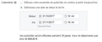 Capture d'écran de la planification des annonces Facebook