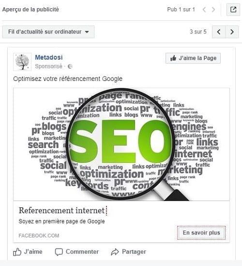 Capture d'écran de la vérification de votre annonce Facebook