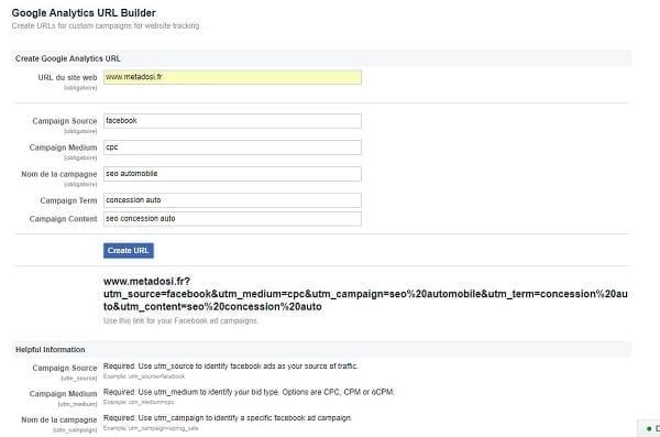 entrer l'information dans les champs du Google analytics url builder pour Facebook