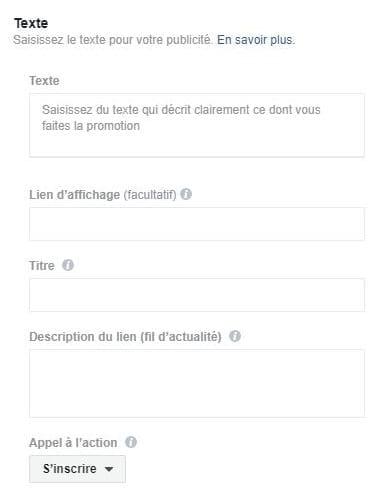Titre et capture d'écran de texte pour votre publicité Facebook