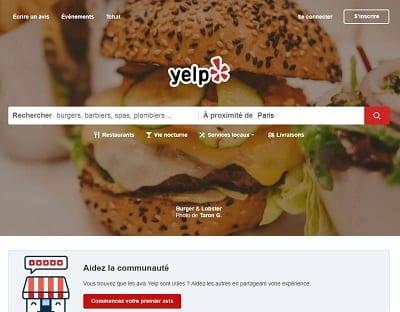 Capture d'écran de la page d'accueil de Yelp
