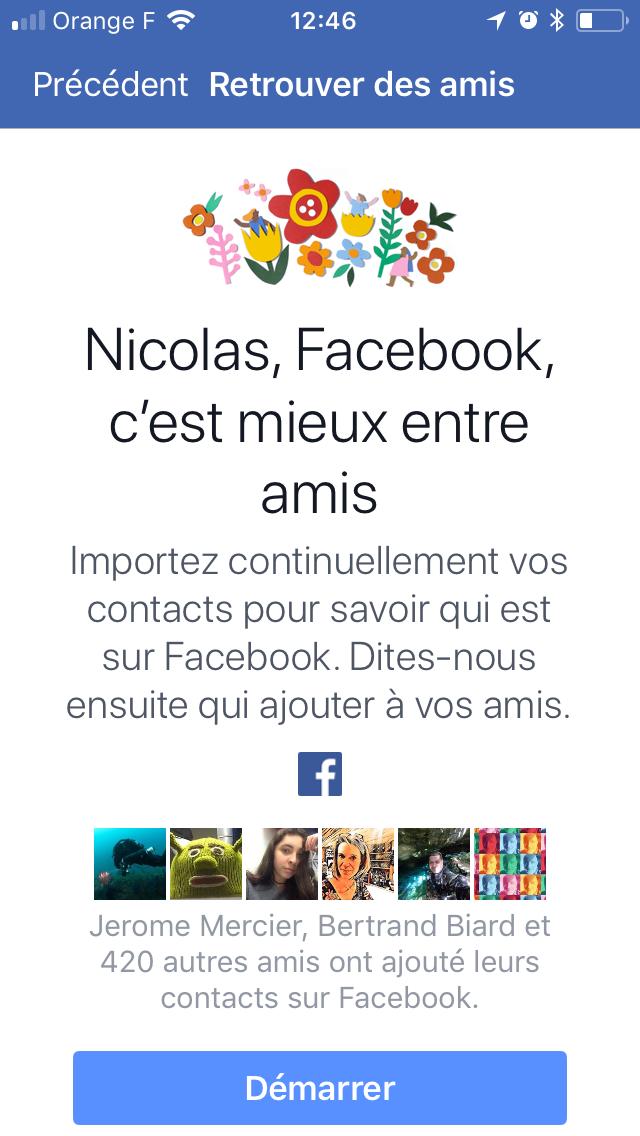 Demande d'ami de l'application mobile de Facebook