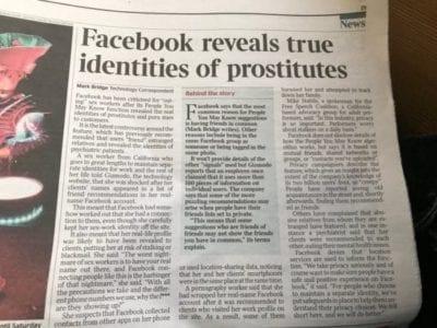 L'algorithme de Facebook révèle le vrai profil de prostituées