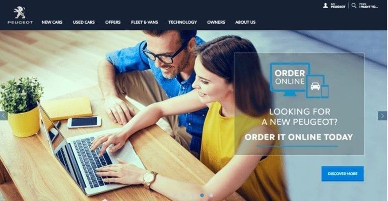 Site e-commerce automobile de Peugeot en Angleterre