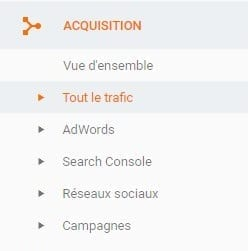 option d'acquisition dans google analytics