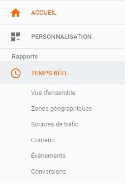 option en temps réel dans google analytics