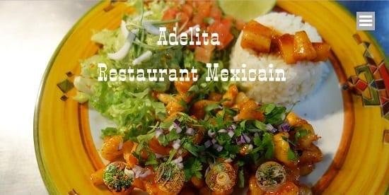 Image d'un site web de restaurant: Restaurant Mexicain Adelita