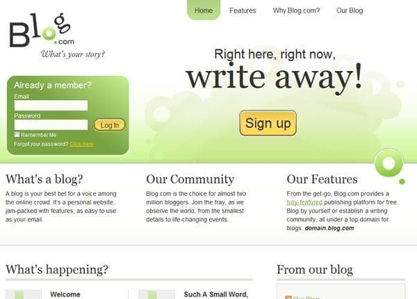Plateforme de blog en ligne gratuit Blog.com
