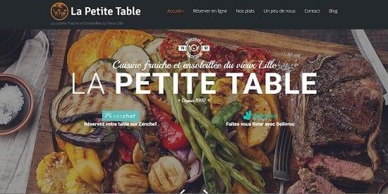 Image d'un site internet de restaurant : pëtite Table Lille