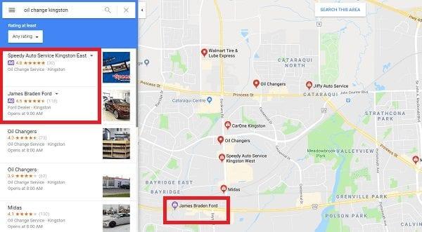 Exemple d'annonce de recherche locale sur Google Maps