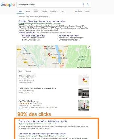 Annonces organiques Google
