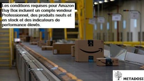 Les conditions requises pour Amazon Buy Box incluent un compte vendeur Professionnel, des produits neufs et en stock et des indicateurs de performance élevés.
