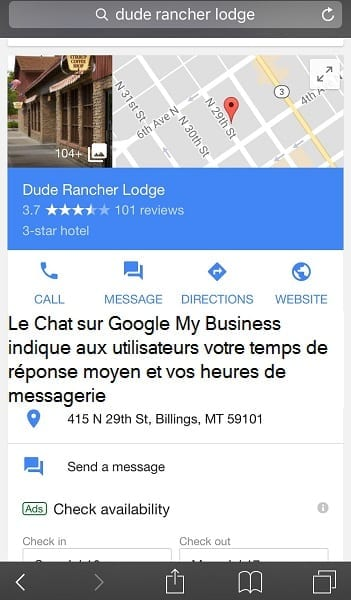 Exemple de Live Chat sur Google My Business