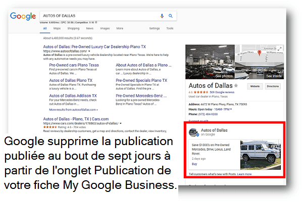 Exemple de publication Google sur Google My Business