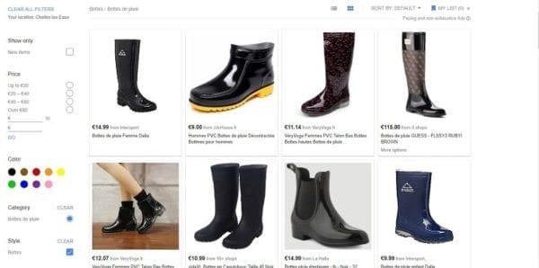 Un exemple de résultats de recherche Google Shopping