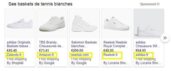 Un exemple de Google Shopping affichant le nom de la marque