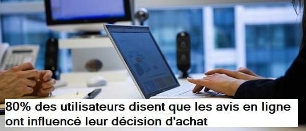 Une statistique sur l'influence des avis en ligne sur les décisions d'achat des utilisateurs