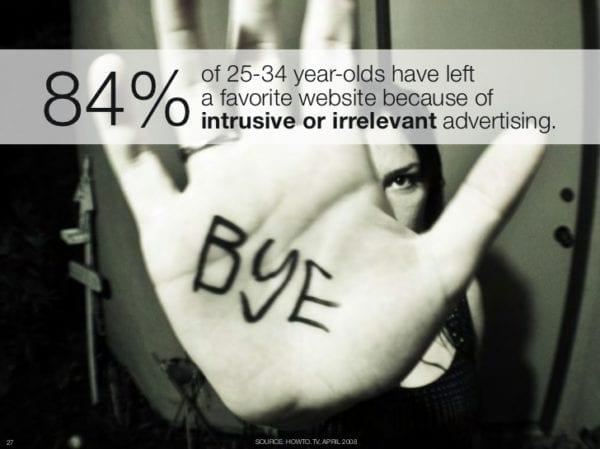 84% DES PERSONNES ÂGÉES DE 25 À 34 ANS ONT ARRÊTÉ D'UTILISER UN site internet FAVORI EN RAISON D'UNE PUBLICITÉ IRRELEVANTE OU INTERRUPTIVE.