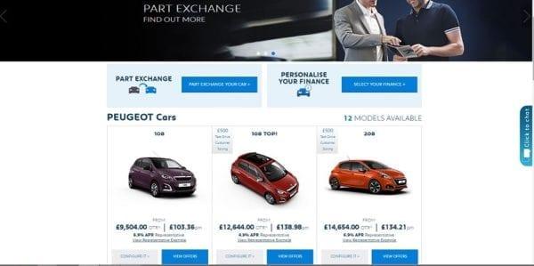 Peugeot UK propose des offres, des credit auto avec acceptation en ligne, la reprise de la voiture et la livraison dans la concession de votre choix