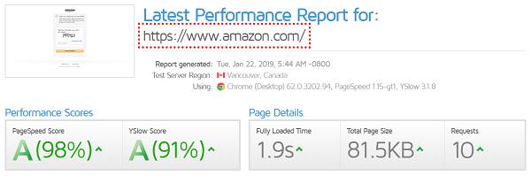 Rapport de performance GTmetrix
