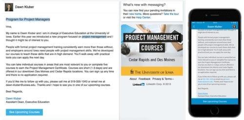 Exemple de publicité d'inmail sponsorisé de Linkedin