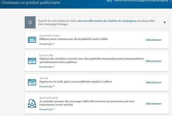 Choix des différentes publicités Linkedin