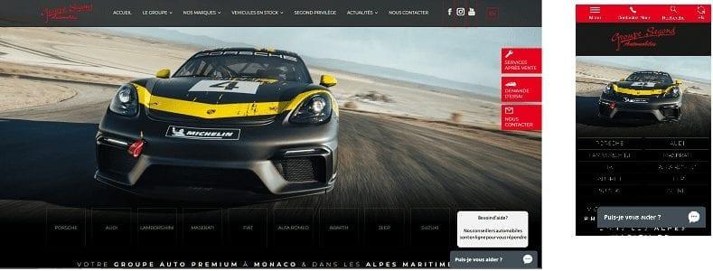 Version de bureau SEgond Automobiles version mobile de Segond Automobiles