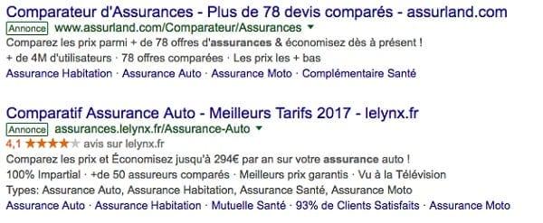 Exemple d'annonce textuelle Google étendue