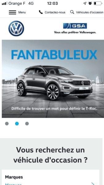 Site internet automobile mobile Volkswagen Guadeloupe GSA