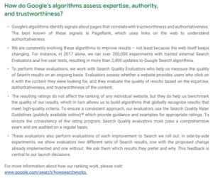 EAT selon Google expertise Autorité Confiance
