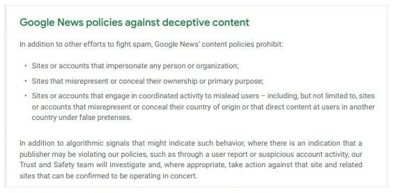 Règles de Google relatives aux contenus trompeurs