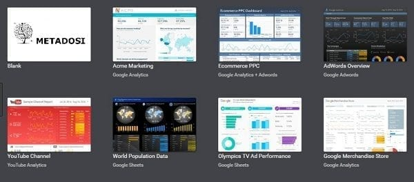 Une capture d'écran des modèles de Google Data Studio