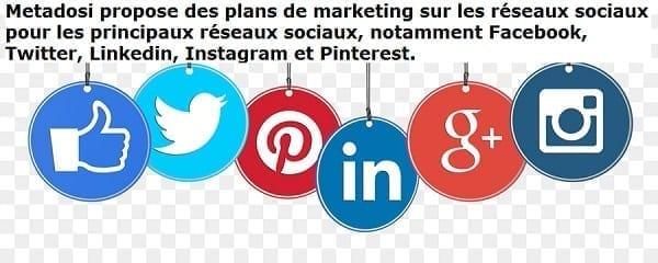 Metadosi propose des plans de marketing sur les réseaux sociaux pour les principaux réseaux sociaux, notamment Facebook, Twitter, Linkedin, Instagram et Pinterest.