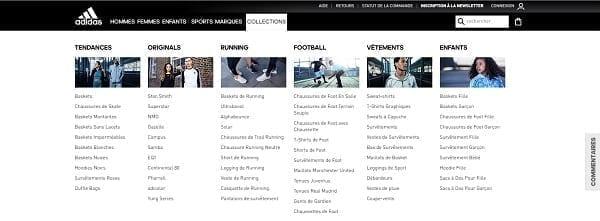 La navigation du site Adidas