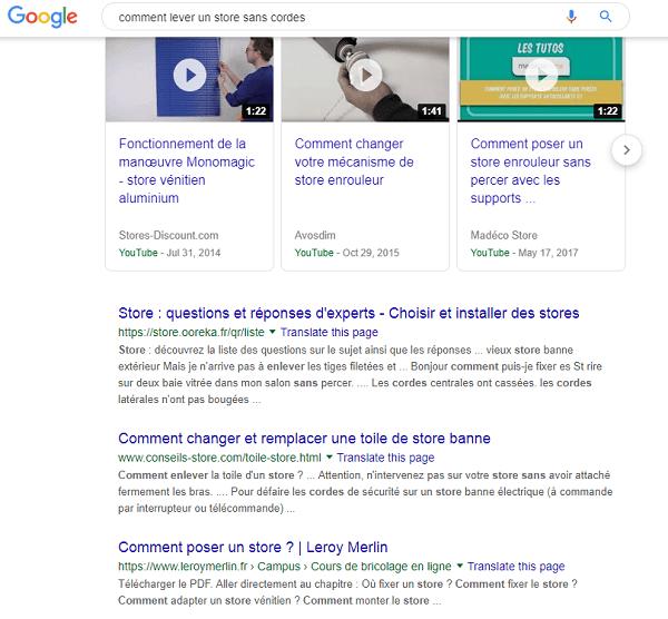 Une capture d'écran d'un résultat de recherche organique