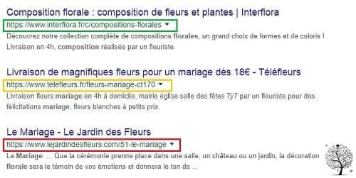 """Exemple d'URL claires et personnalisées pour la recherche de """"composition florale mariage"""""""