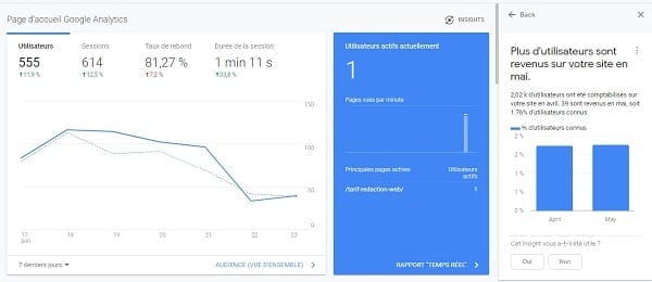 Une capture d'écran de Google Analytics, une solution de marketing digital