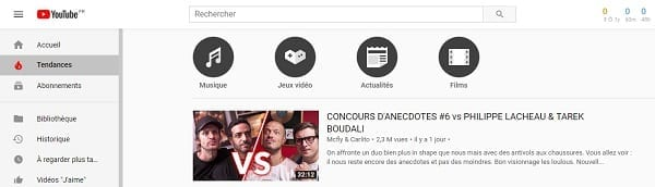 Tendances Youtube