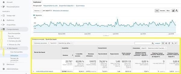 Une capture d'écran de l'utilisation de la recherche sur les sites dans Google Analytics