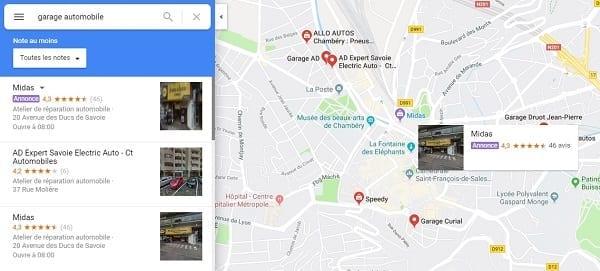 Annonce Google Maps