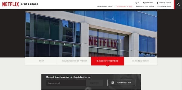 Capture d'écran du blog de Netflix