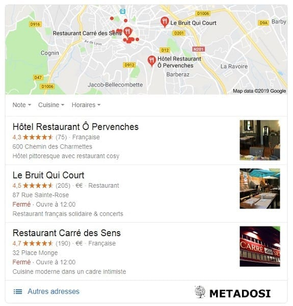 un exemple d'un pack local Google pour les restaurants locaux