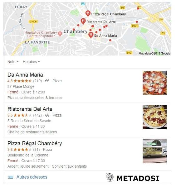 Recherche locale d'une Pizzeria à Chambéry : résultat du pack local 3 de Google