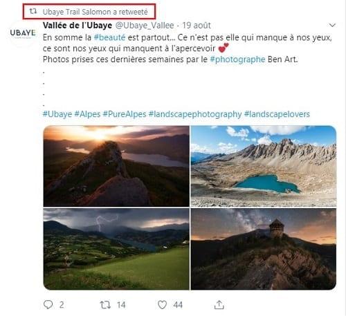 Retweet et partage de contenu créé par l'utilisateur