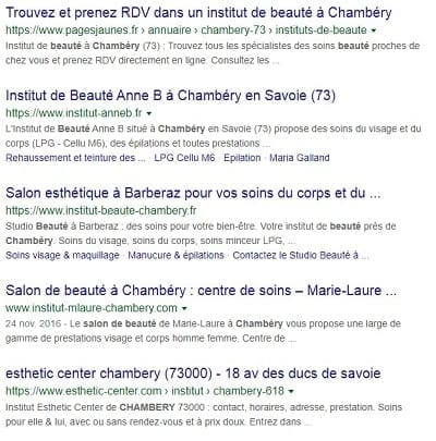 Résultats Google pour 'salon de beauté Chambery'