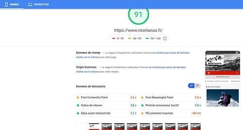 Vitesse site mobile